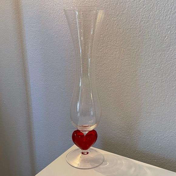 Glass Heart Valentines Day Romantic Vase Lovecore